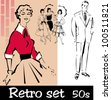 retro set - stock vector