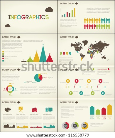 Retro set elements of infographics for presentation - stock vector