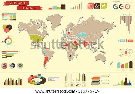 Retro Set elements of infographics. World Map and Information Graphics - stock vector