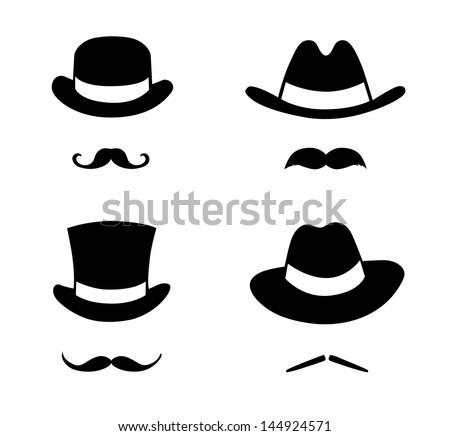 Retro set hat and mustache. Retro style, vector illustration.   - stock vector