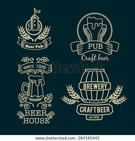 Retro set label of beer. Old style elements, logos, logotypes for bar, pub, brewing company, brewery, tavern, beer town, beer house. Logo collection. - stock vector