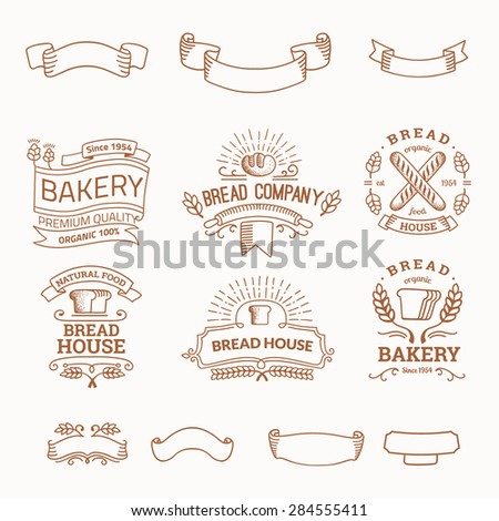 Retro set label of bread bakery. Old style elements, logos, logotypes for badges, bread company, bread house, cafe, cake shop. Logo collection. - stock vector
