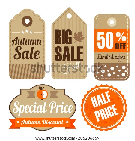 Retro set of autumn fall vintage sale and quality labels, cardboard tags, vector illustration - stock vector