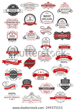 Retro set of bestseller, guarantee, choice and quality labels for shops and commerce in red and grey with assorted text, vector design elements - stock vector