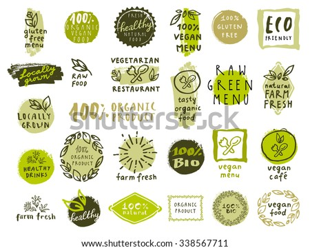 Retro set of 100% bio, organic, gluten free, eco, healthy food labels. Hand drawn logo templates with floral and vintage elements for restaurant menu or food package. Vector badges in hipster style - stock vector