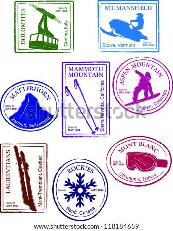 Retro Set of Fun Passport Style Ski Resort Stamps Vector Illustration - stock vector