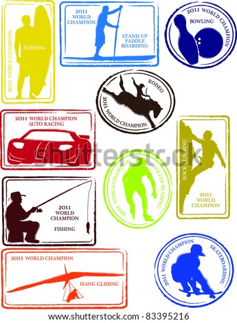 Retro Set of Fun Water and Other Unique Sports Passport Stamps Vector Illustration - stock vector