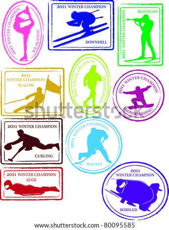 Retro Set of Fun Winter Sports Passport Stamps Vector Illustration ...