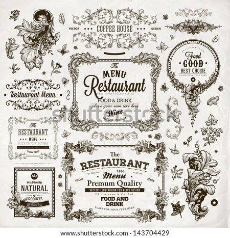 Retro set of labels for restaurant menu design. Vintage floral frames with antique flowers. Engraving hand drawn style. Detailed elements. Vector eps10 illustration. - stock vector