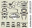 retro set of mustaches and other accessories - stock vector