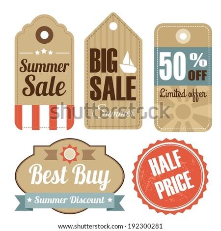 Retro set of summer vintage sale labels, cardboard tags, vector illustration - stock vector