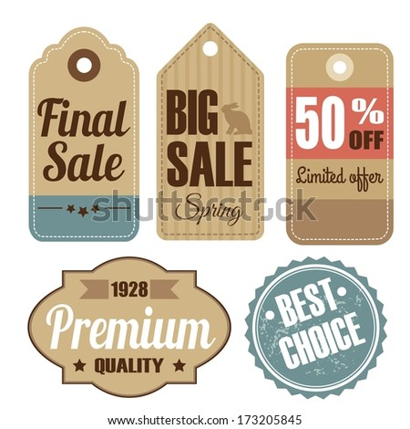 Retro set of vintage sale and quality labels, cardboard tags, vector illustration - stock vector