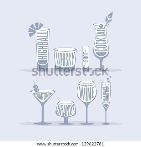 Retro set with various drinks and glass types - stock vector