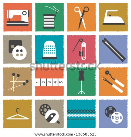 Retro sewing icons - stock vector