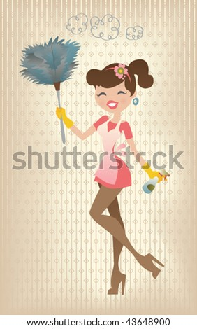 Retro Sexy Housewife. Vector illustration of a sexy housewife in a fifties retro style, cleaning her house. - stock vector