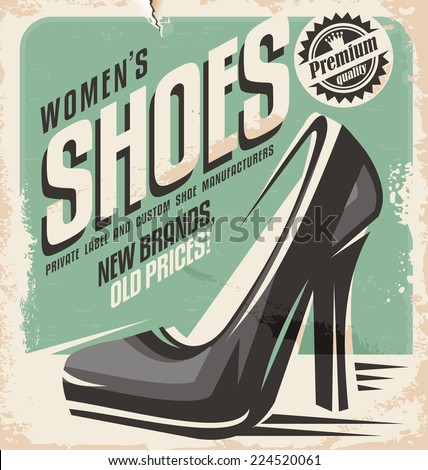 Retro shoes store promotional poster design. Creative template concept for women shoes flyer design. - stock vector