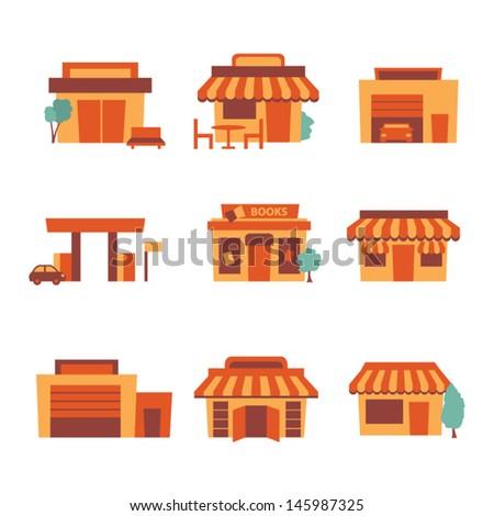 Retro shop icons - stock vector