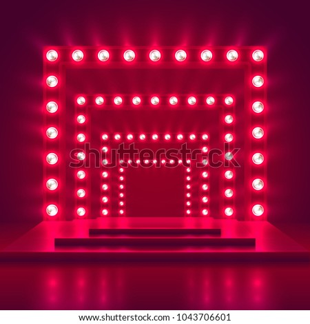 Retro Show Stage Light Frame Decoration Stock Vector (2018 ...