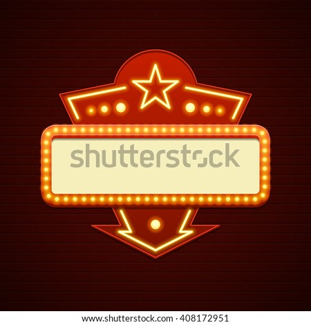 Retro Showtime Sign Design. Cinema Signage Light Bulbs Billboard Frame and Neon Lamps on brick wall background. 1850s Signboard Style Vector Illustration. - stock vector