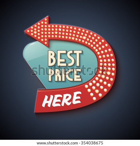 Retro Sign with Arrow. Vector Best Price banner, billboard, signboard - stock vector