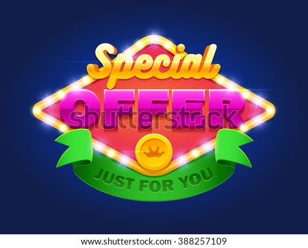 Retro sign with lamp Special offer banner. Vector illustration design with graphic element, emblem, discount, web page, flyer, promotion, application etc. - stock vector