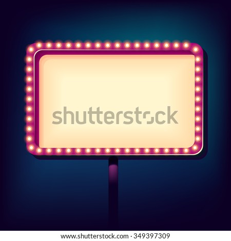 Retro sign with lights, street 3D volumetric frame, Vector illustration