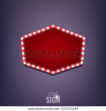 Retro sign with shiny light bulbs. Shiny light banner. Light sign with lamps
