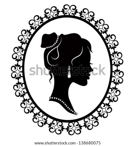 retro silhouette profile of a young girl in a diaper frame - stock vector