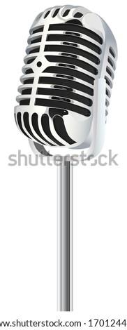 Retro silver microphone - stock vector