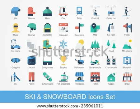 retro ski and snowboard icons set, colourful vector illustration - stock vector