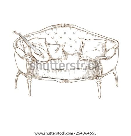Retro sofa - stock vector