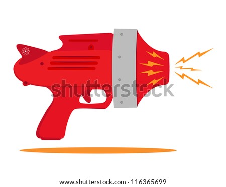 retro space gun with rays - stock vector