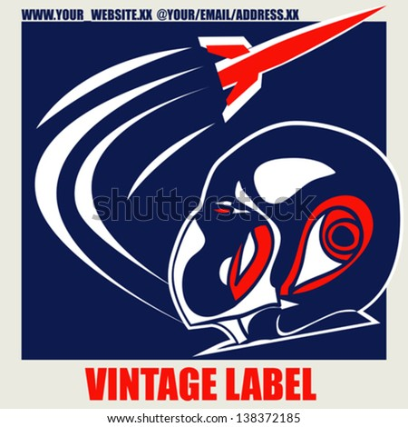 Retro Space Label, vector background with a rocket and pilot helmet - stock vector