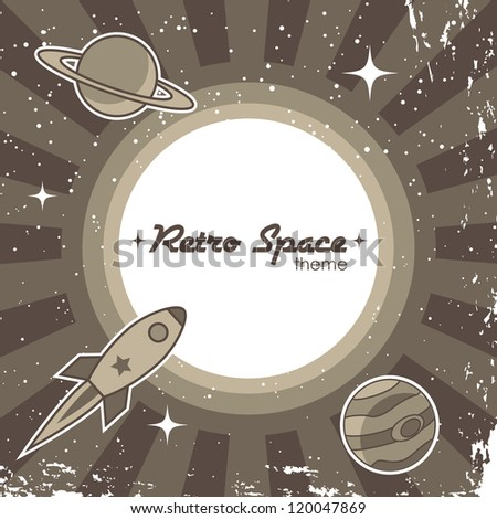 Retro space theme background with rocket - stock vector