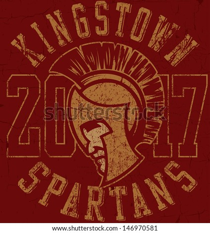"Retro ""Spartans"" athletic design complete with Spartan mascot vector illustration, vintage athletic fonts and matching textures (all on separate layers, of course).  - stock vector"