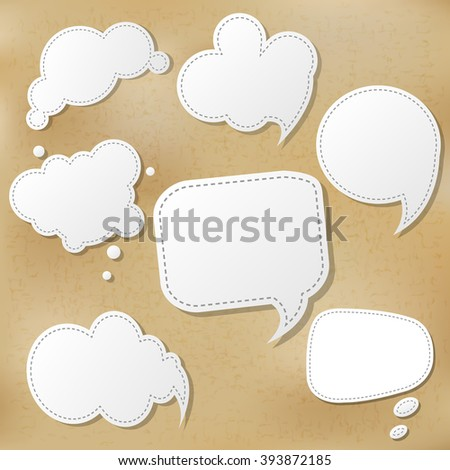 Retro Speech Bubble Set With Gradient Mesh, Vector Illustration