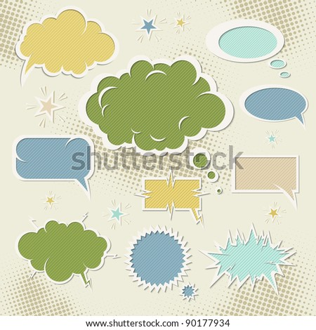 Retro speech bubbles set. Vector illustration Eps 10. - stock vector
