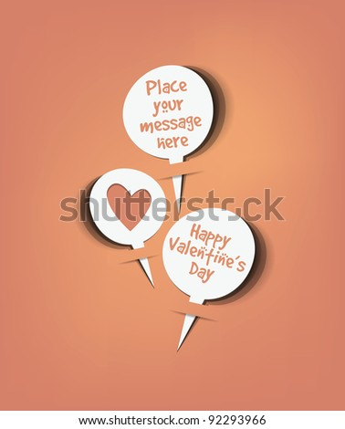 Retro speech bubbles set with valentine message vector - stock vector