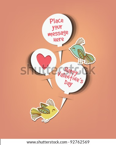 Retro speech bubbles with sweet birds message vector - stock vector