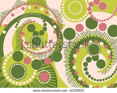 retro spiral dots green and pink pattern (vector) - stock vector