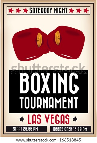 Retro sports poster to announce a boxing tournament - stock vector