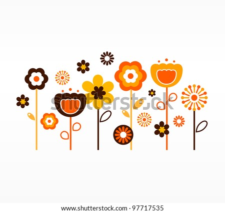 Retro spring flowers collection ( orange and brown ) - stock vector
