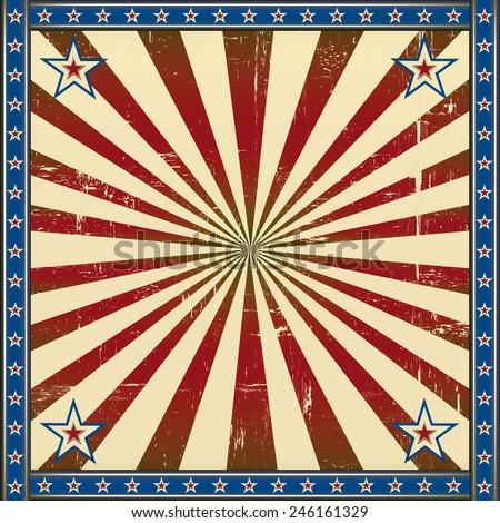 Retro square patriotic background - stock vector