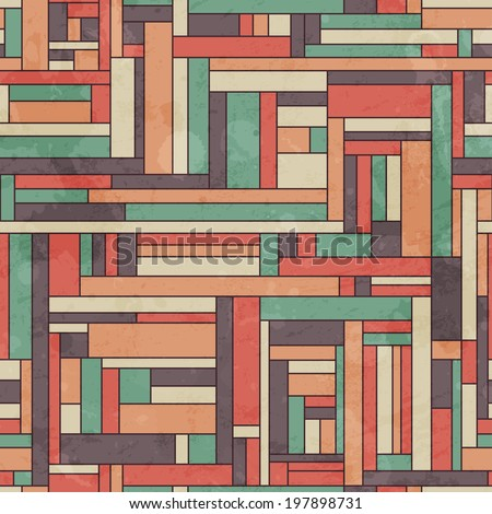 retro square seamless pattern with grunge effect - stock vector