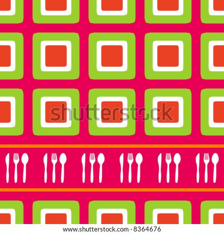 Retro squares background design with cutlery silhouette - stock vector