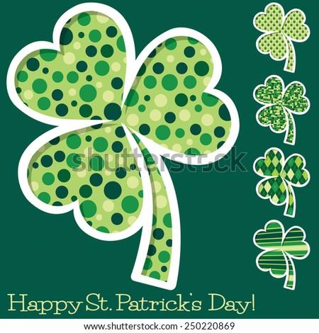 Retro St. Patrick's Day shamrocks in vector format. - stock vector