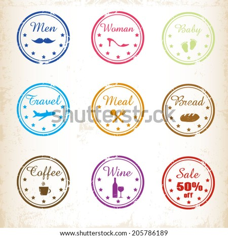 Retro Stamps labels set collection - stock vector