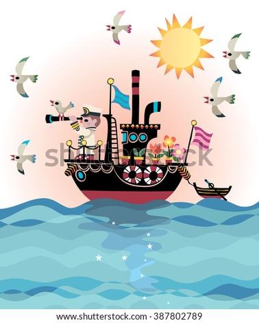 Retro Steamboat Captain - stock vector