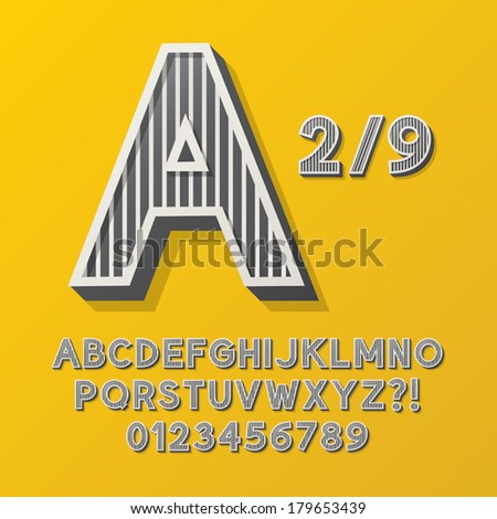 Retro Stripe Style 2/9 Alphabet and Numbers, Eps 10 Vector Editable, No Clipping Masks - stock vector