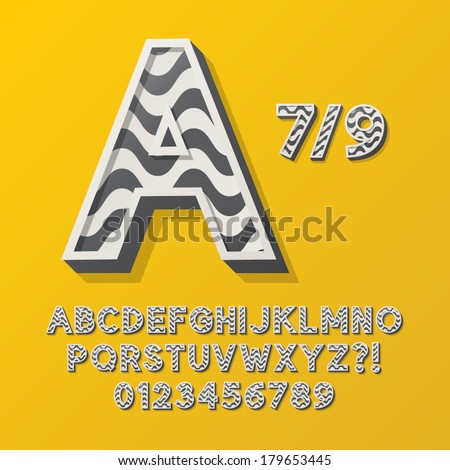 Retro Stripe Style 7/9 Alphabet and Numbers, Eps 10 Vector Editable, No Clipping Masks - stock vector